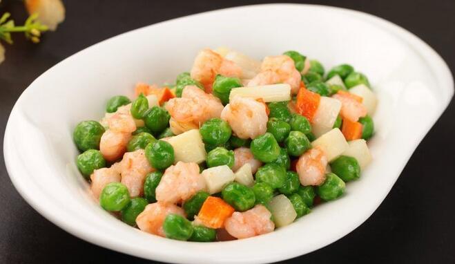 马蹄豌豆炒虾仁的做法视频