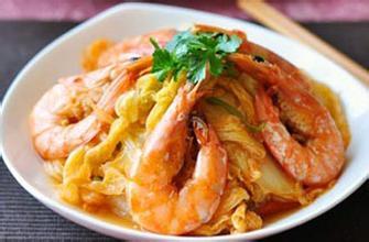 红油白菜虾的做法