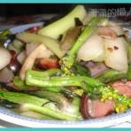 腊肉紫菜苔的做法