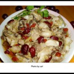 红枣杞子蒸滑鸡