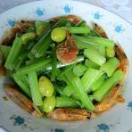 白果虾干炒芹菜
