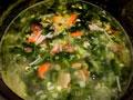 小白菜玉米粒海鲜粥的做法