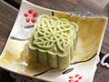 抹茶豆沙桃山月饼的做法