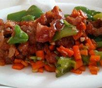 青椒胡萝卜炒肉片