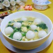 油菜蕻鸡蛋煮汤圆的做法