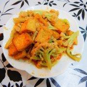 花菜烧豆腐的做法