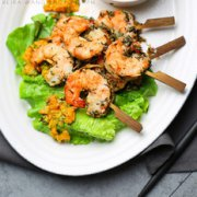 香草烤大虾配完熟芒果的做法