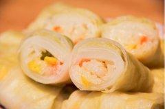 糯米虾仁包菜卷的做法视频